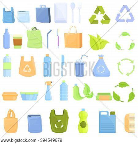 Biodegradable Plastic Icons Set. Cartoon Set Of Biodegradable Plastic Vector Icons For Web Design