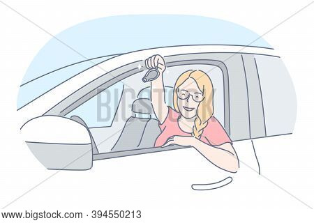 New Car Purchase, Happy Owner Of New Vehicle Concept. Young Blonde Smiling Woman Cartoon Character S