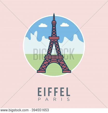 Eiffel Tower Paris France With Building Landmark Design Vector Illustration. Paris Travel And Attrac