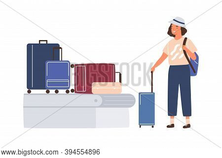 Female Character Waiting And Pick Her Baggage From Conveyor Belt. Young Woman Tourist Stand With Sui
