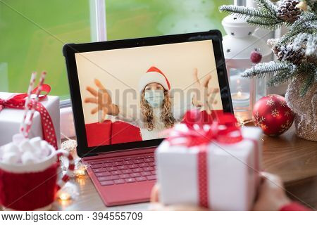 Family Celebrating Christmas Holiday Online By Video Chat In Quarantine. Lockdown Stay Home Concept.