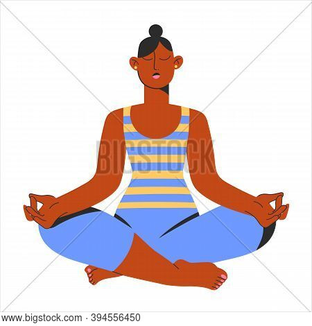 Beautiful Woman Yoga Lotus Postition. Relax, Asana, Meditation