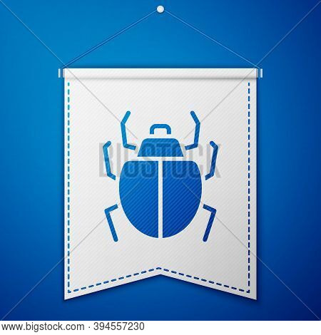 Blue Mite Icon Isolated On Blue Background. White Pennant Template. Vector