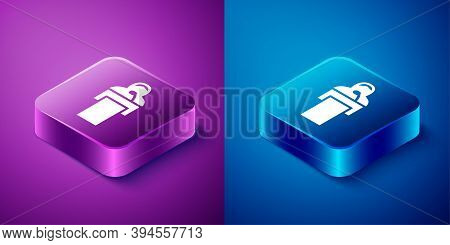Isometric Gives Lecture Icon Isolated On Blue And Purple Background. Stand Near Podium. Speak Into M