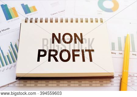 Non Profit - Written In A Notebook On The Background Of Financial Charts And Graphs.