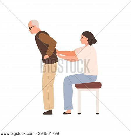 Young Female Chiropractor Examining Elderly Patient. Doctor Or Nurse Massaging Aged Man. Flat Vector