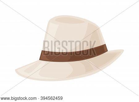 Gangster Beige Hat Decorated With Ribbon Or Hatband. Summer Male Headdress. Flat Vector Cartoon Illu