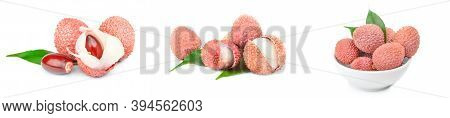 Group Of Litchi Isolated On A White Background