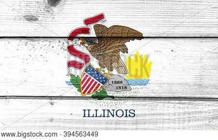 Illinois Flag Painted On Old Wood Plank Background. Brushed Natural Light Knotted Wooden Board Textu