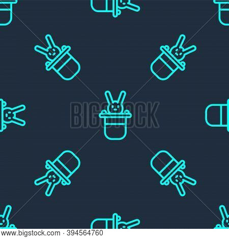 Green Line Magician Hat And Rabbit Icon Isolated Seamless Pattern On Blue Background. Magic Trick. M