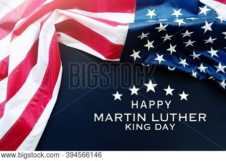 Martin Luther King Day Anniversary - American Flag On Blue Background