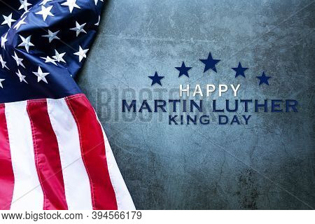 Martin Luther King Day Anniversary - American Flag On Abstract Background
