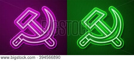 Glowing Neon Line Hammer And Sickle Ussr Icon Isolated On Purple And Green Background. Symbol Soviet