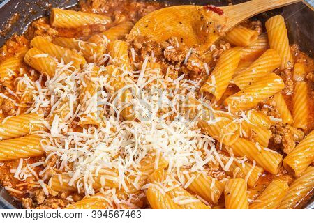 Cooking Tortiglioni With Onion And Sausage Ragout, Pasta With Sausage Sauce With Onion And Tomato Pa