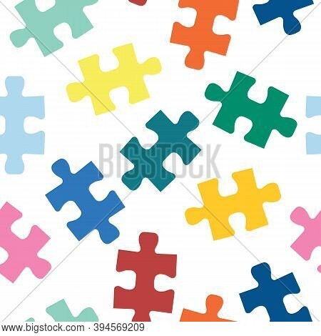 Puzzle Pieces Seamless Vector Pattern. Repeating Background For Fabric, Kids Wear, Childrens Decor.