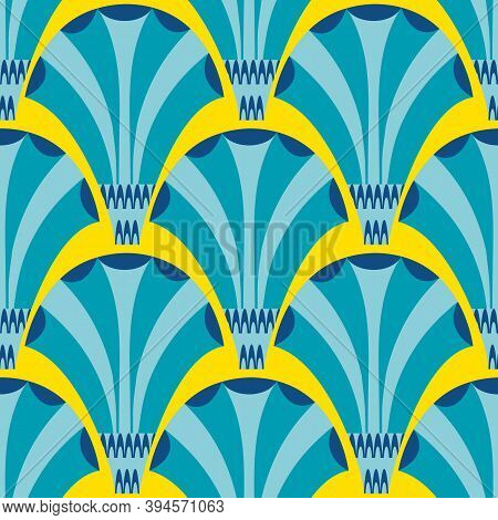 Vector Art Deco Stylized Fanning Flower Seamless Pattern Background. Blue Yellow Geometric Backdrop