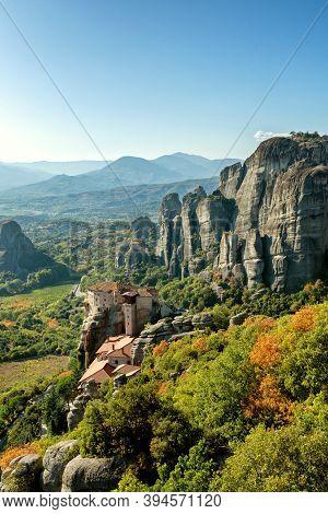Panorama Of Meteora Orthodox Churches On The Tops Of Rocks, Monasteries On Height, Meteoric Rocks, S