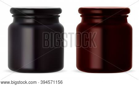 Cosmetic Cream Jar. Beauty Botle Blank For Skin Product. Black And Broun Glossy Packaging For Wax Or