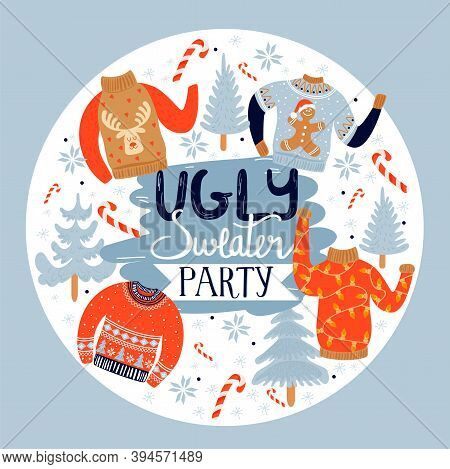 Christmas And Happy New Year Invitation Template On Ugly Sweater Party. Illustration With Ugly Sweat
