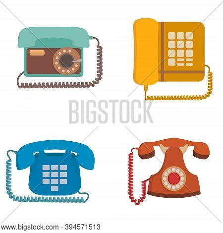 Set Of Retro Phones. Outdated Equipment In Cartoon Style.