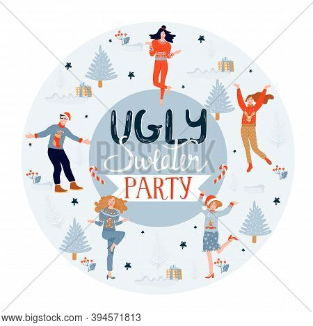 Christmas And Happy New Year Poster Template On Ugly Sweater Party. Card With Happy People In Sweate