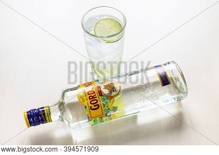 Moscow, Russia - November 4, 2020: Above View Of Lying Bottle Of Gordon's London Dry Gin And Gin And