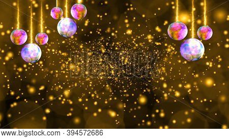 Balls Lights Hang On Ceiling And Deep Gold Snow Luxury Golden Tone Background