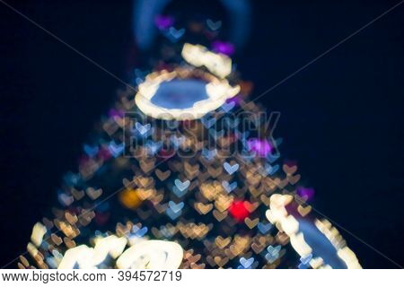 Blur And Bokeh Heart Shape Love Of Valentine Day Night Light