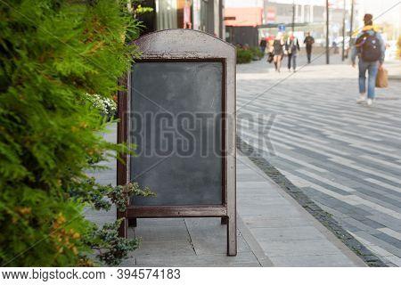 Signboard On The Street. Empty Menu Board Stand. Restaurant Sidewalk Chalkboard Sign Board. Freestan