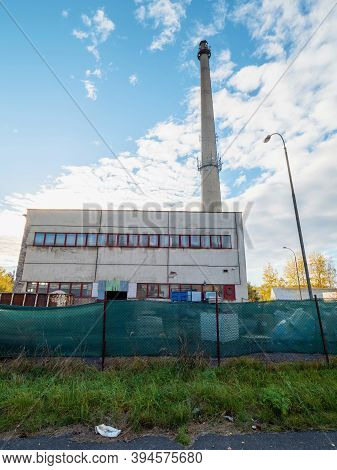 Obsolete Central Heating Company For Combustion Of Natural Gas And Fossil Fuels. The City Thermal Po