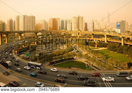 Shanghai, China, Asia - November 28, 2008: Traffic At The Access / Exit Ramp To To Nanpu Bridge And