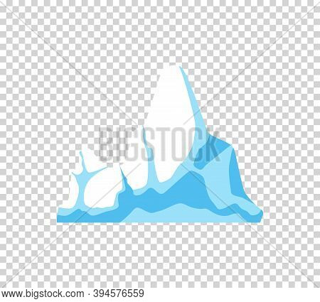 Iceberg. Cartoon Floating Iceberg. Drifting Iceberg Or Isolated Frozen Ocean Water, Crystal Icy Moun
