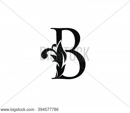 Luxury B Letter Logo. Black Floral B With Classy Leaves Shape Design Perfect For Boutique, Jewelry,