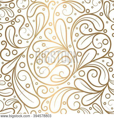 White And Gold Linear Leaves Seamless Pattern. Vintage Vector Ornament Template. Paisley Elements. G