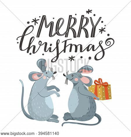 Greeting Card For New Year With Cute Mouse And Lettering.  Rat Giving Other Rat A Gift. Rat Is Chine
