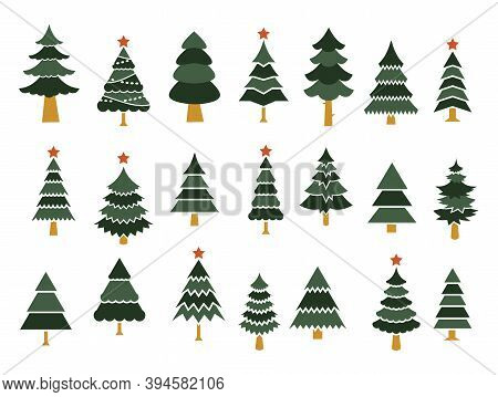 Set Of Different Fir Trees. Tree Merry Christmas Icon. Vector Template For Design, Greeting Card, In