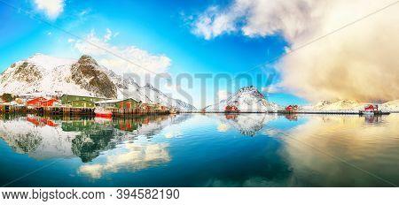 Breathtaking Panoramic View Of Ramberg Village And Port At Sunrise. Travel Destination On Lofotens..