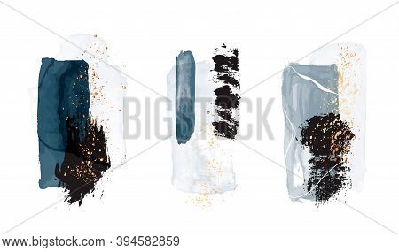 Watercolor Abstract Blue Gold Shapes. Classy Teal Elegant Artwork, Stationery Print. Advertising Tem