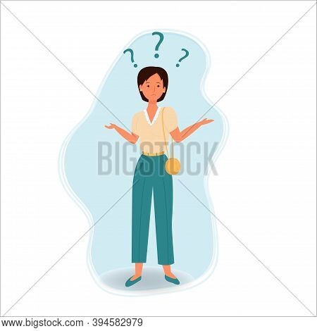 Confused Woman, Emotional Face And Pose, Questions Around Isolated On White Background Stock Vector