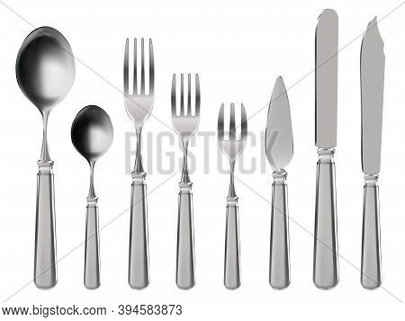 Realistic Cutlery. Stainless Steel Tableware, Knife, Spoon And Forks. Restaurant Or Home Kitchen 3d