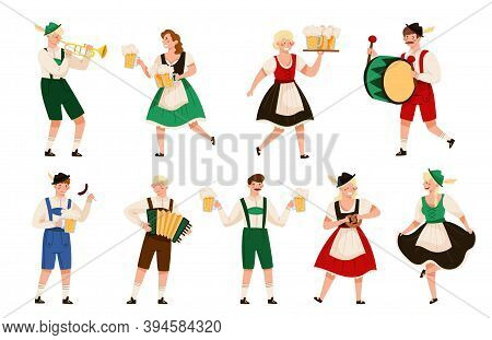 People Characters In Traditional Bavarian Costumes Playing Musical Instrument And Carrying Beer Mug