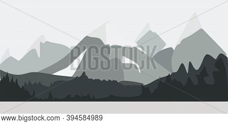 International Mountain Day. Black Mountains On A Clearing Background. Everest Mountain Landscape Nat