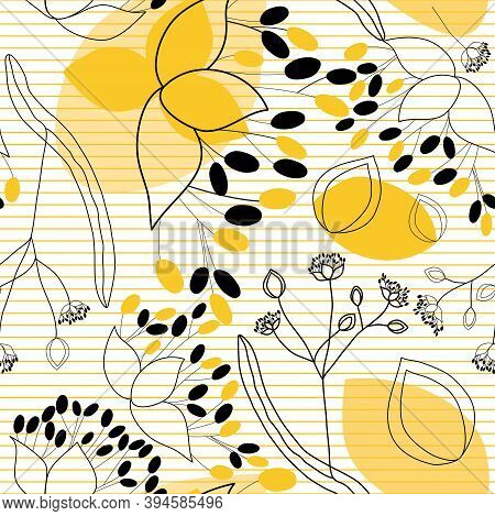 Seamless Pattern Of The Elements Of The North-western Caucasus Flora In Black And Gold Color. Textil