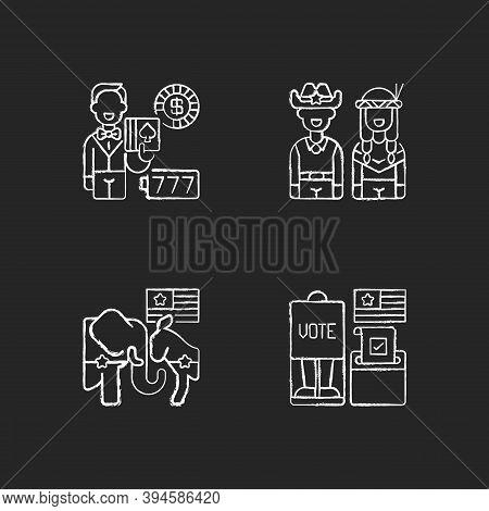 United States Chalk White Icons Set On Black Background. Casino. Wild West. Democrats Vs. Republican