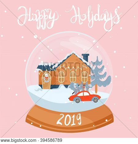 Christmas And Happy New Year Illustration. Snow Globe With Christmas House, Car And Fir-tree. Christ