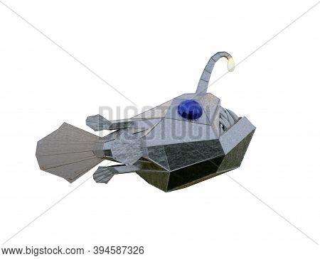 Metallic Angry Deep-sea Angler Fish With Sharp Teeth. 3d Illustration