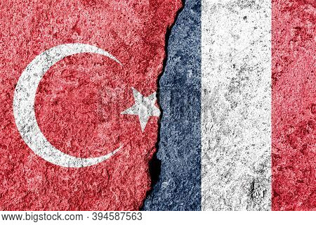 The Crack Between France And Turkish Flags. The Concept Of Sanctions, Problems, Severance Of Diploma