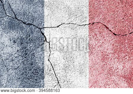 France Flag On Cracked Concrete Wall. The Concept Of Crisis, Conflict, Terrorism Or Other Problems I