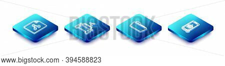 Set Isometric Line Share File, Car Sharing, Folder And Flight Mode The Mobile Icon. Vector