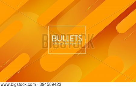 Bullet Abstract Vector Banner Design. Bullets Abstract In Orange Background Text With Bullet Shape E